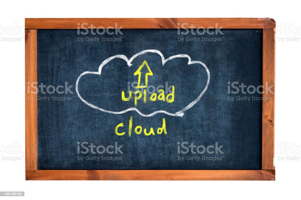 upload cloud on blackboard stock photo