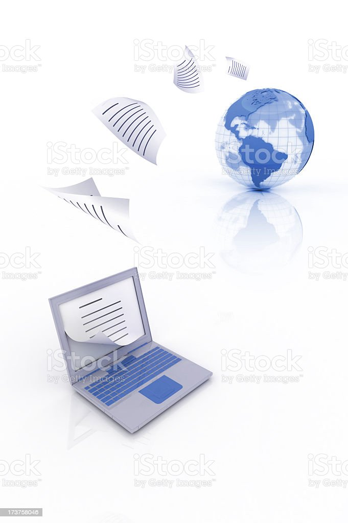 Uploading and downloading on a laptop stock photo