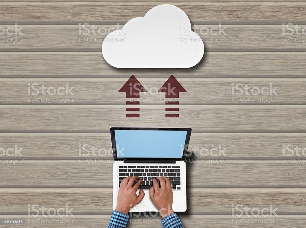 Uploading data to cloud server stock photo