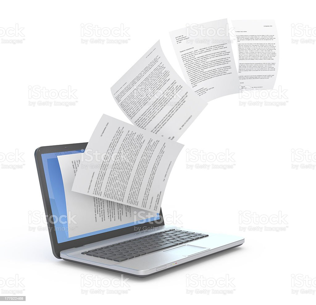 Uploading documents from laptop. stock photo