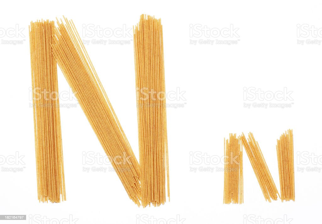 Upper and Lower Case Letter N created with Noodles royalty-free stock photo