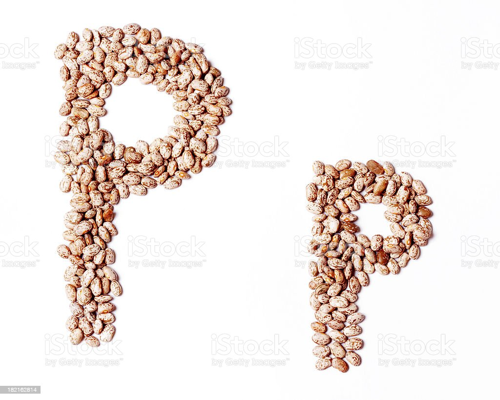 Upper and Lower Case Letter P made with Pinto Beans royalty-free stock photo