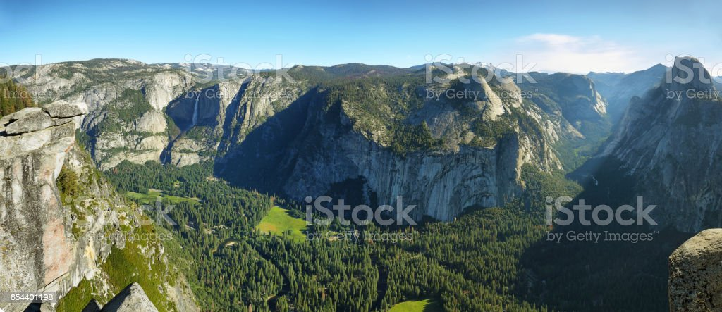 Upper and lower falls in Yosemite national Park stock photo