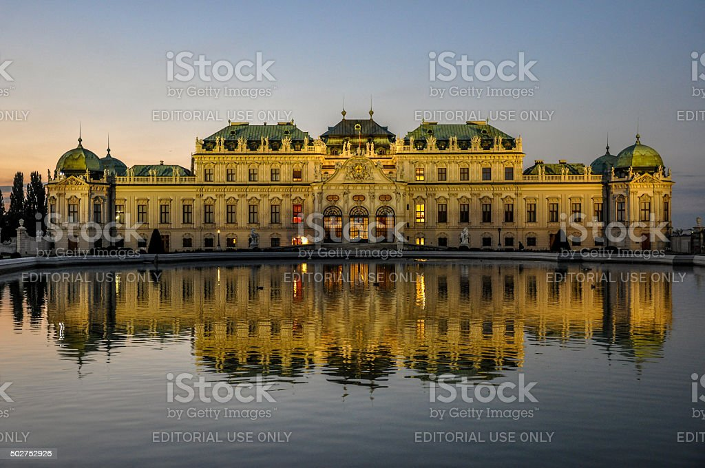 Upper Belvedere Palace in the evening, Vienna, Austria stock photo