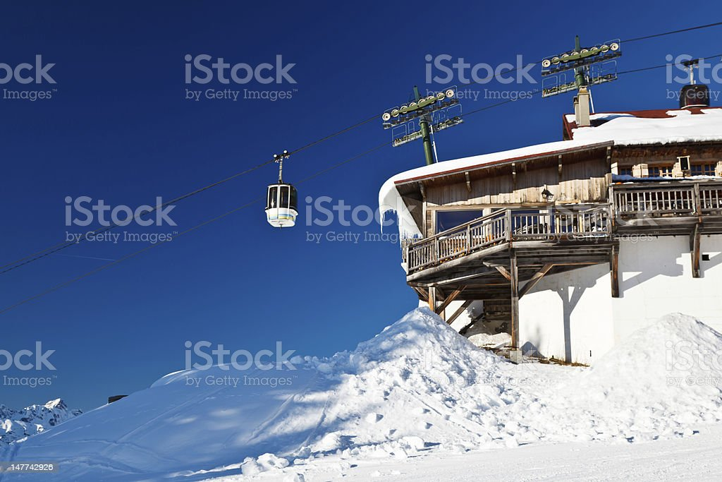 Upper Cable Lift Station and Gondola in French Alps stock photo