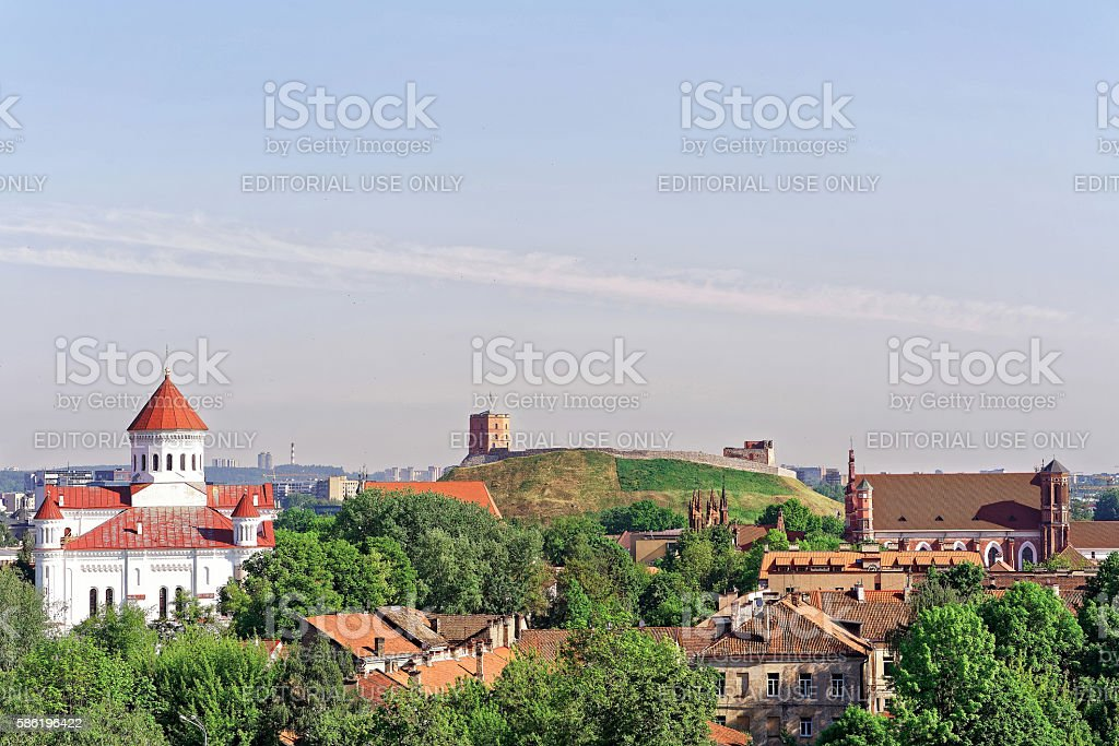 Upper Castle and Cathedral of Theotokos in Vilnius stock photo