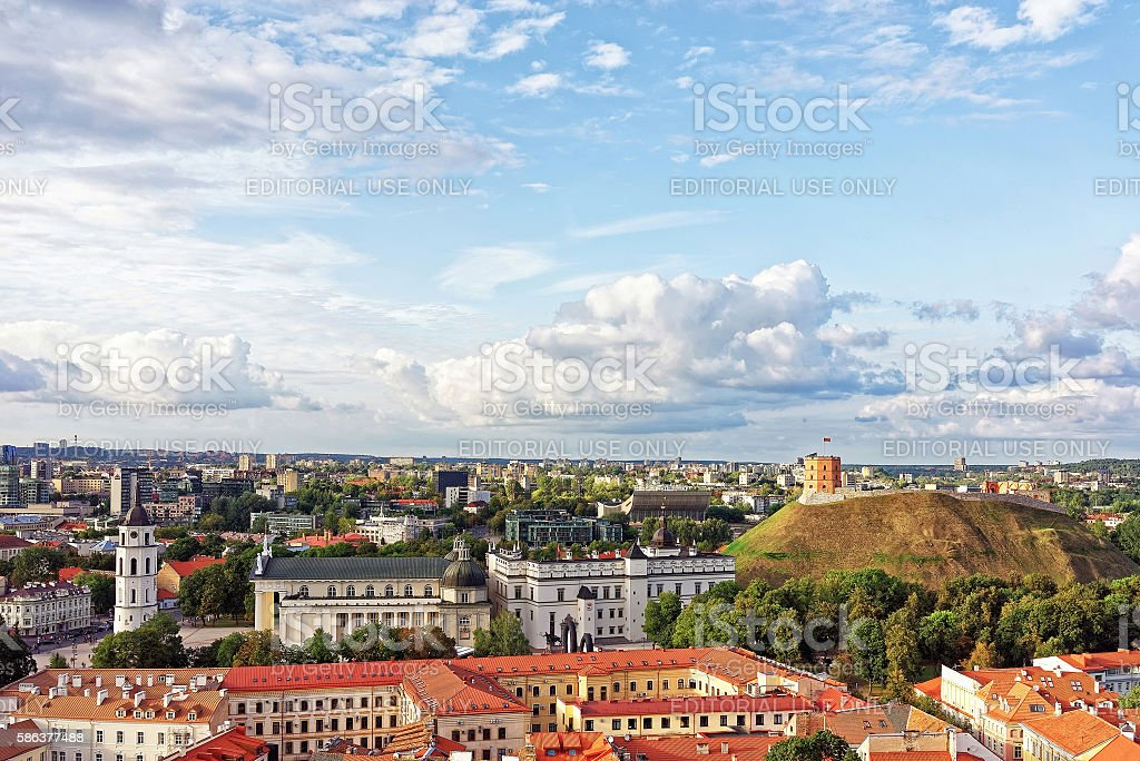 Upper Castle and Cathedral Square in Vilnius of Lithuania stock photo