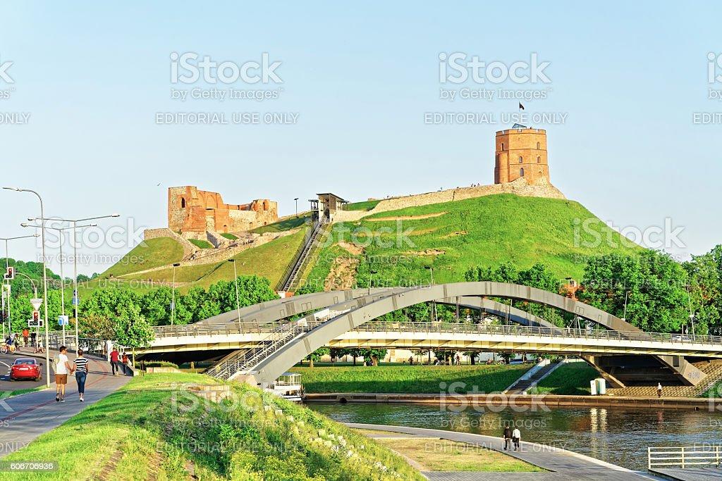 Upper Castle and Neris River at Mindaugas Bridge stock photo