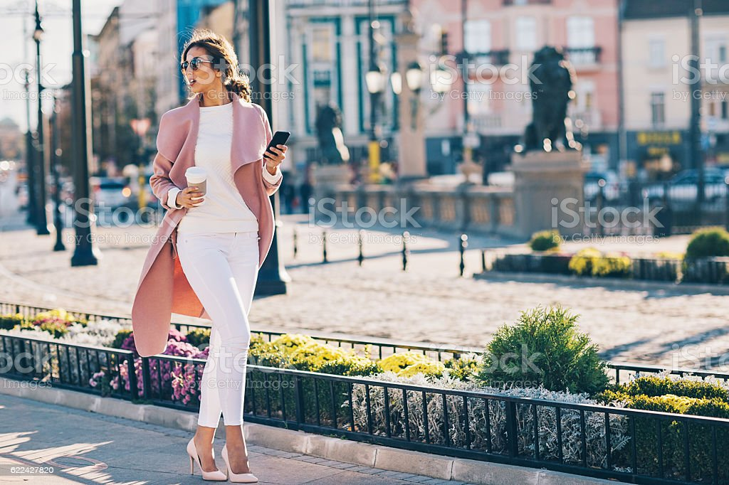 Upper class woman in the city stock photo