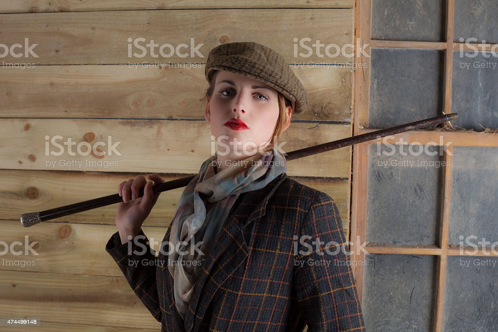 Upper Class Young Lady Dressed For The Country stock photo
