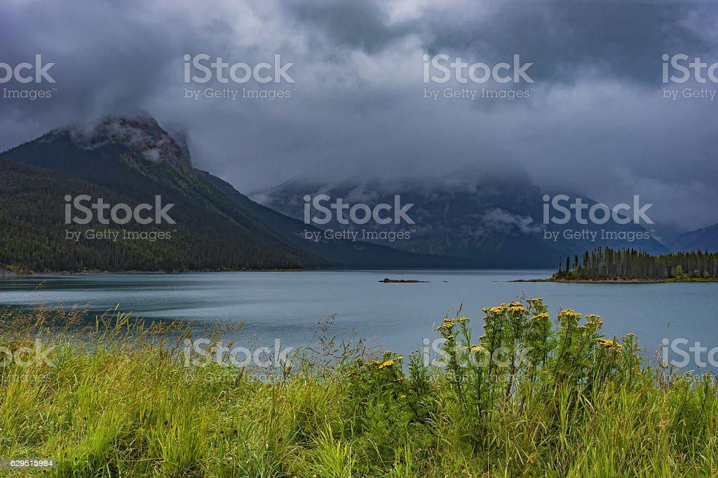 Upper Kananaskis Lake Rocky Mountanis near Canmore Alberta Canada stock photo