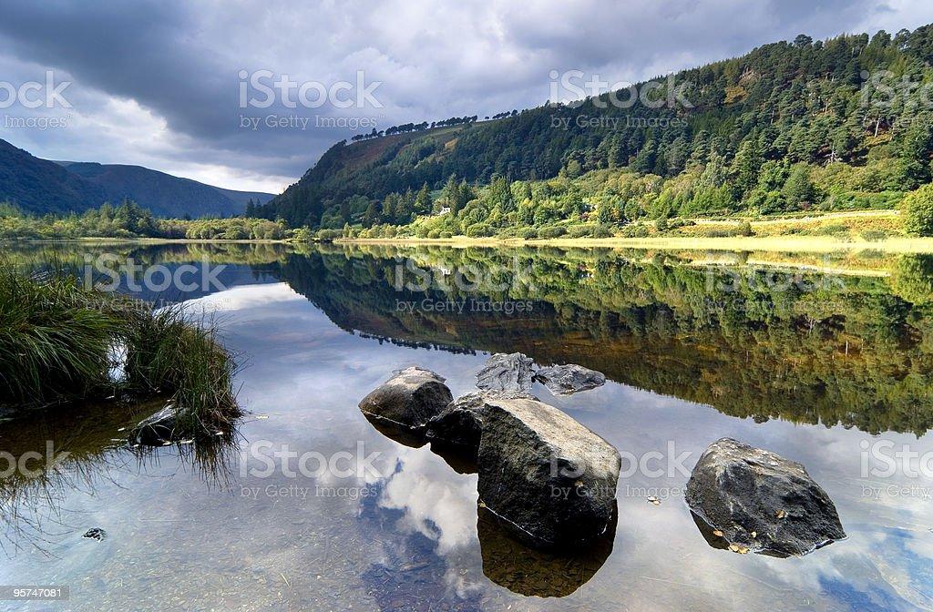 Upper Lake in Glendalough stock photo