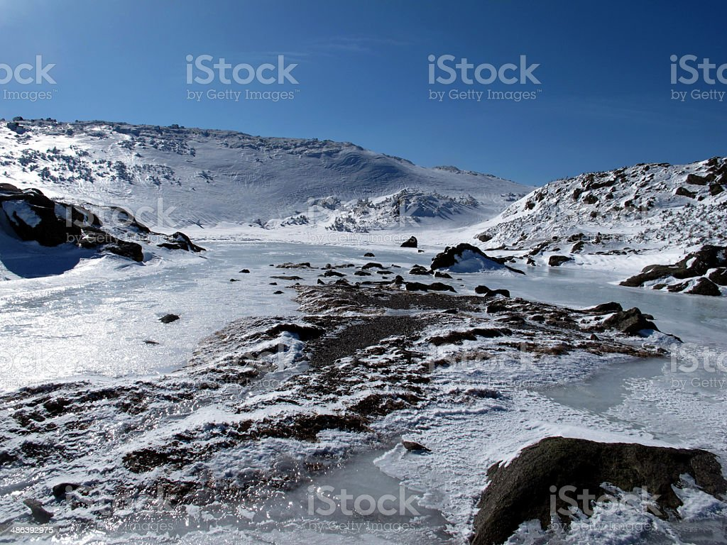 Upper Lakes of the Clouds in Winter stock photo