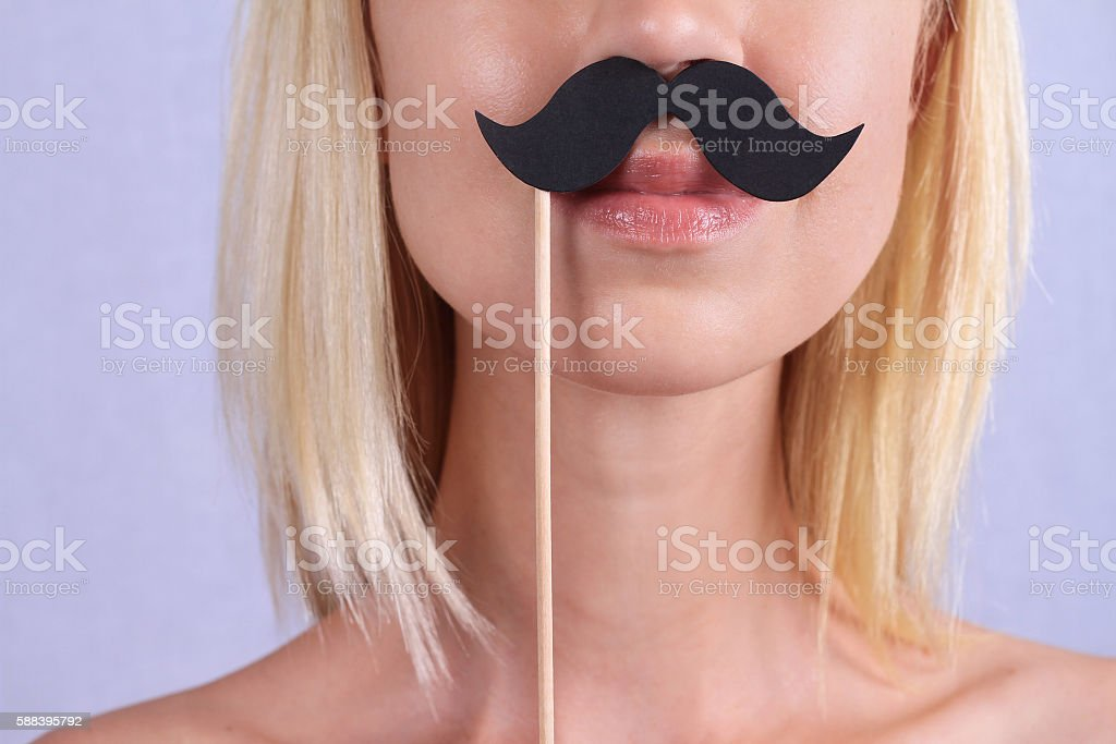 Upper lip hair removal stock photo