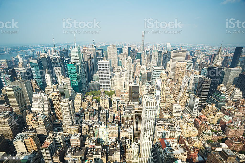 Upper Manhattan from Empire State Building stock photo