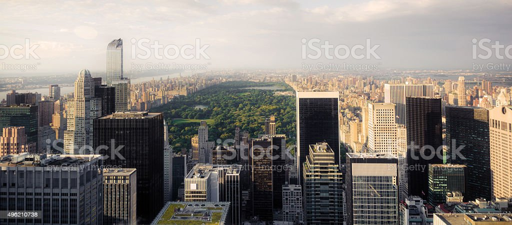 Upper Midtown Manhattan and Central Park in New York City stock photo