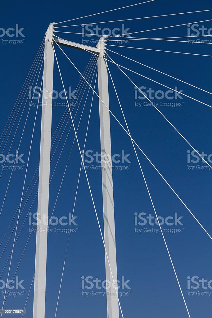 upper part of a suspension bridge stock photo