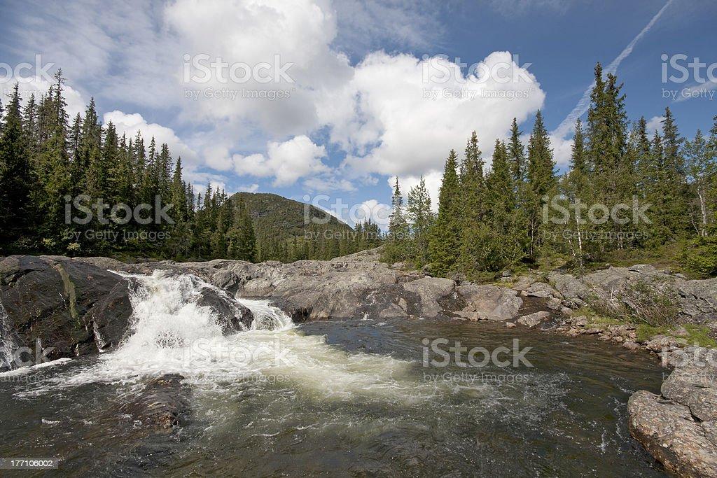 Upper part of Rjukandefossen waterfall (Hemsedal, Norway) stock photo