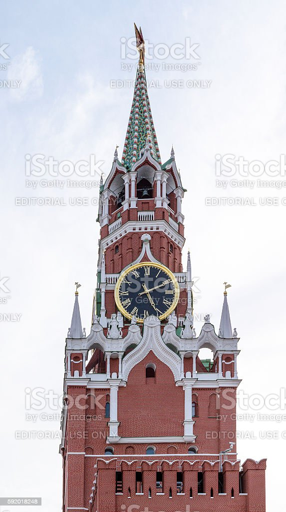 Upper part of Spasskaya tower of Moscow Kremlin with Courant stock photo