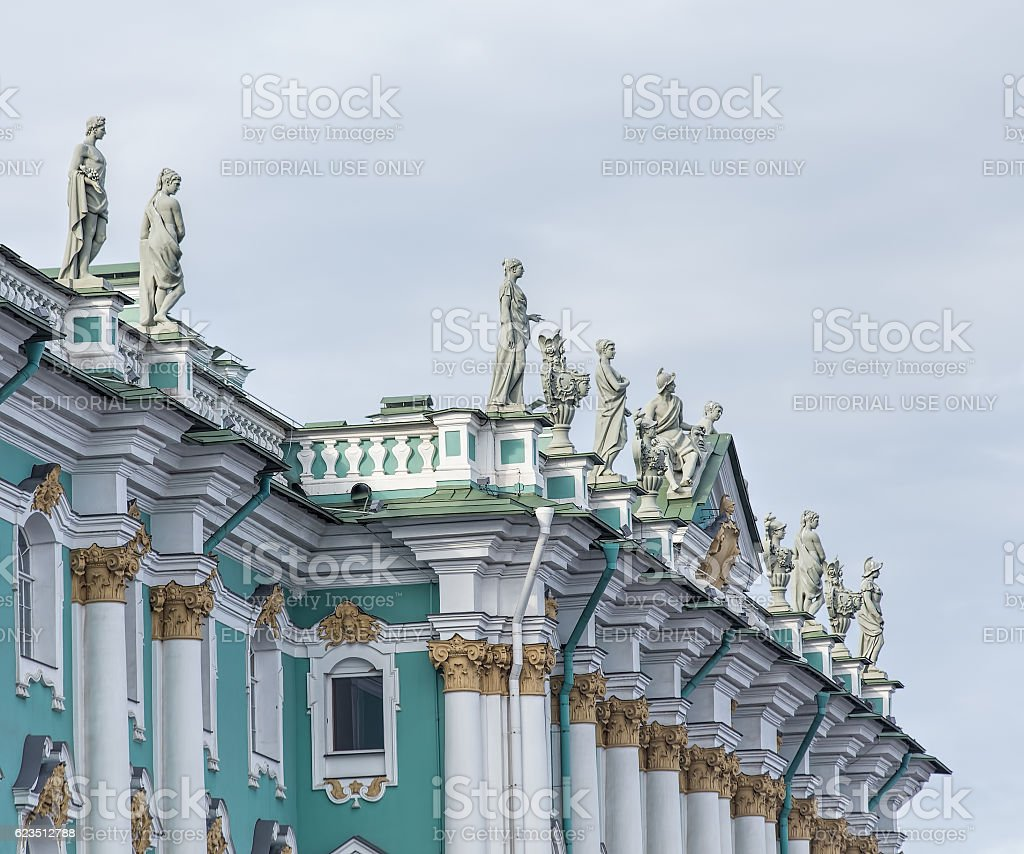 Upper part of the Winter Palace in Saint Petersburg stock photo