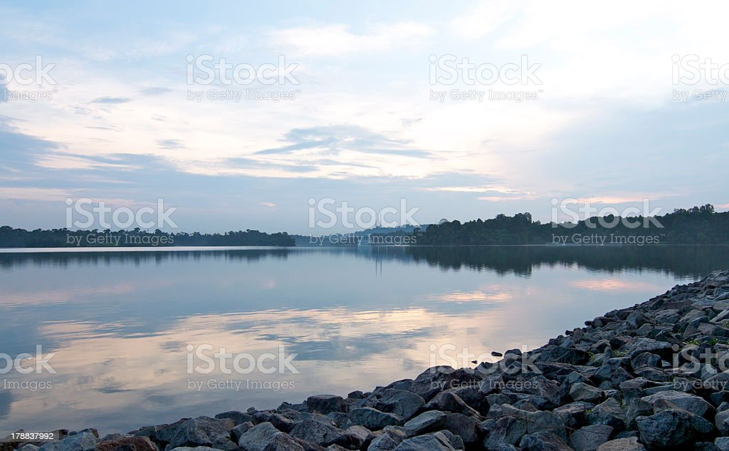 Upper Peirce Reservoir at sunset, Singapore stock photo