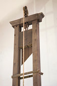 Upper section of historic guillotine