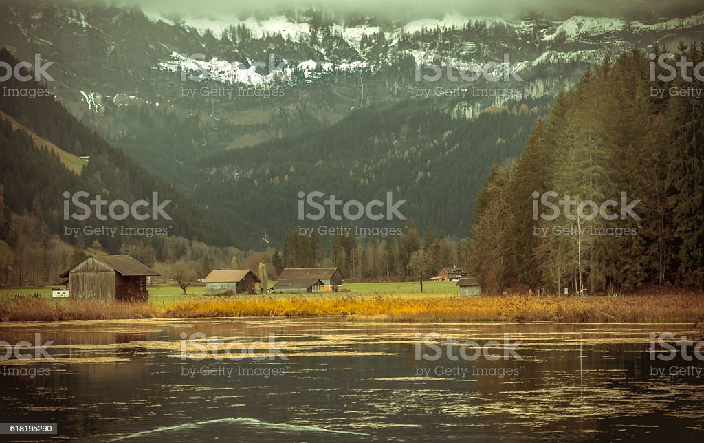 Upper Simmental Valley in Autumn stock photo