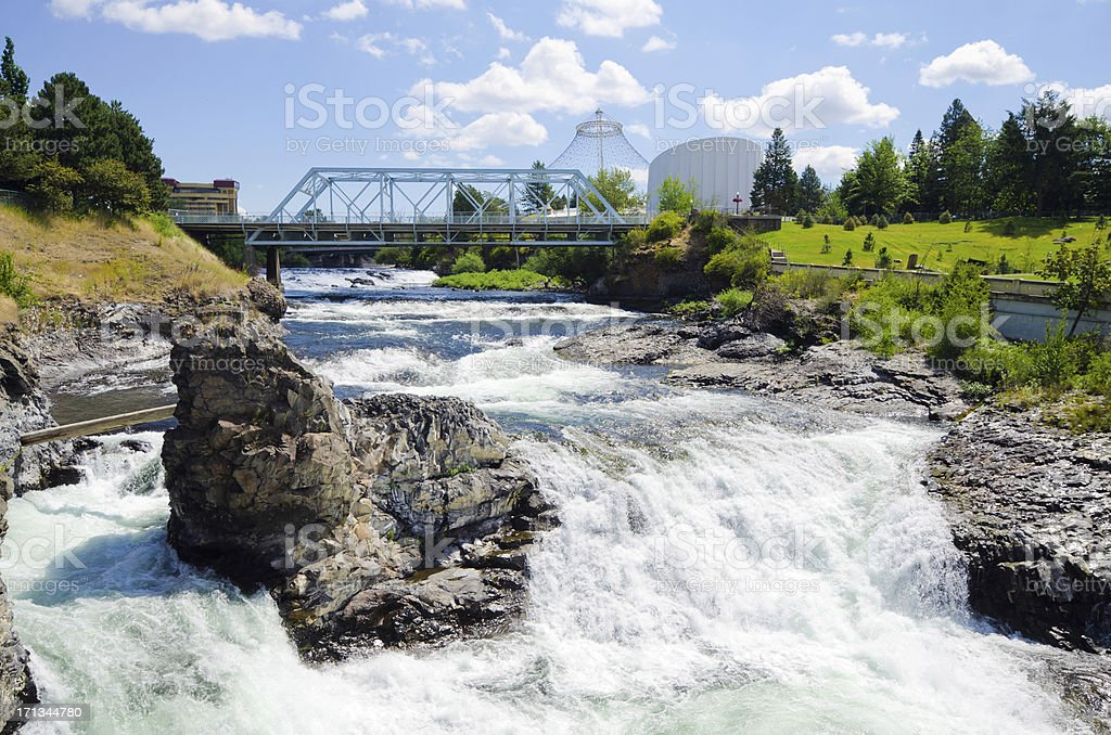 Upper Spokane Falls with Howard Street Bridge in distance stock photo