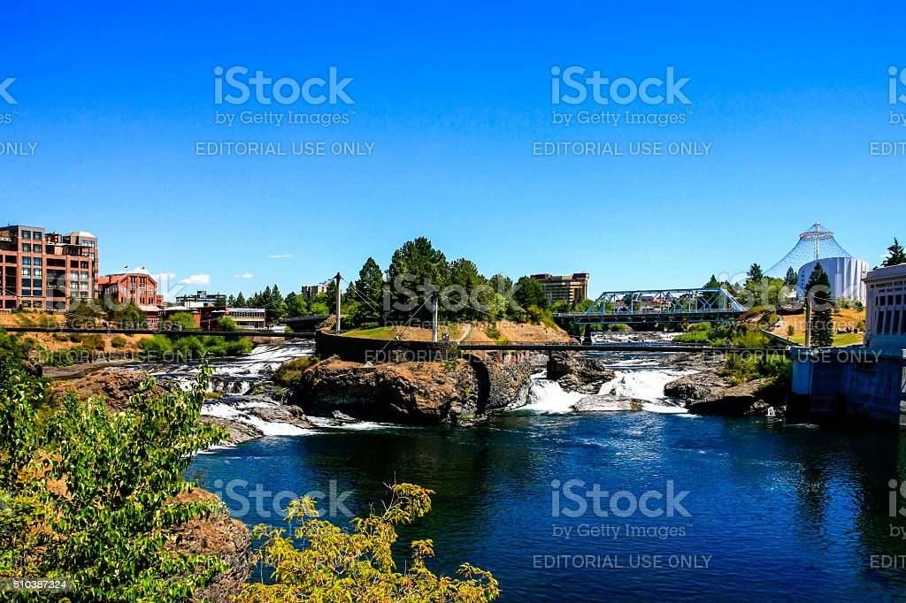 Upper Spokane river falls and Canada Island in Spokane, Washington stock photo