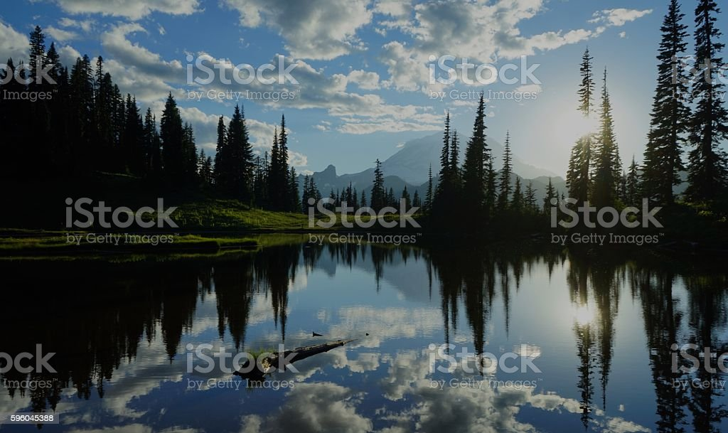 Upper Tipsoo Lake Clouds stock photo