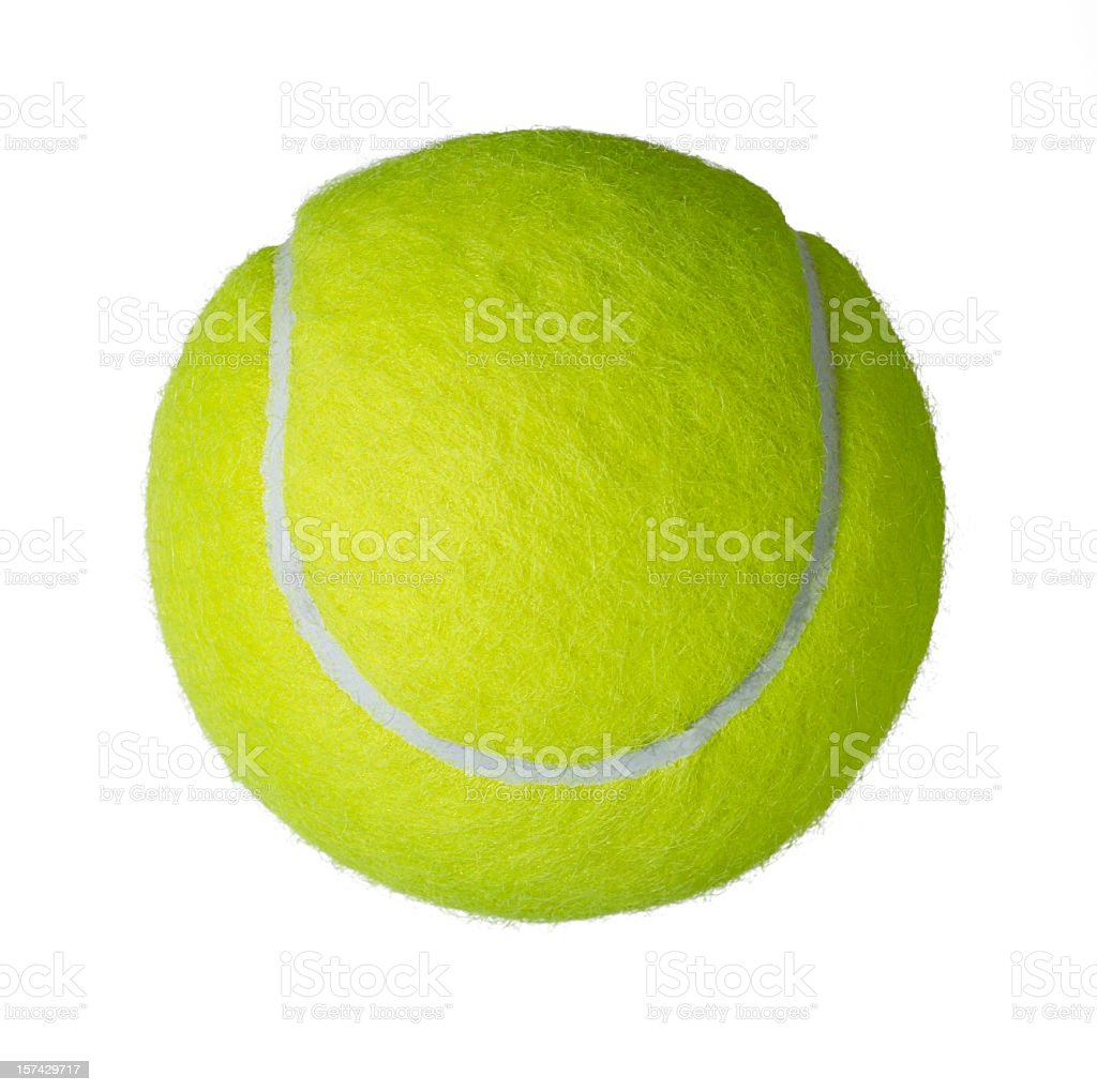 Upper view of a yellow tennis ball stock photo
