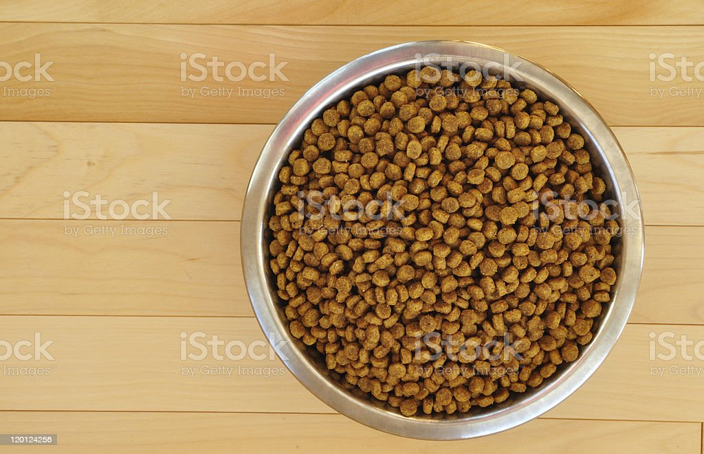 Upper view of dry dog food in stainless steel bowl stock photo