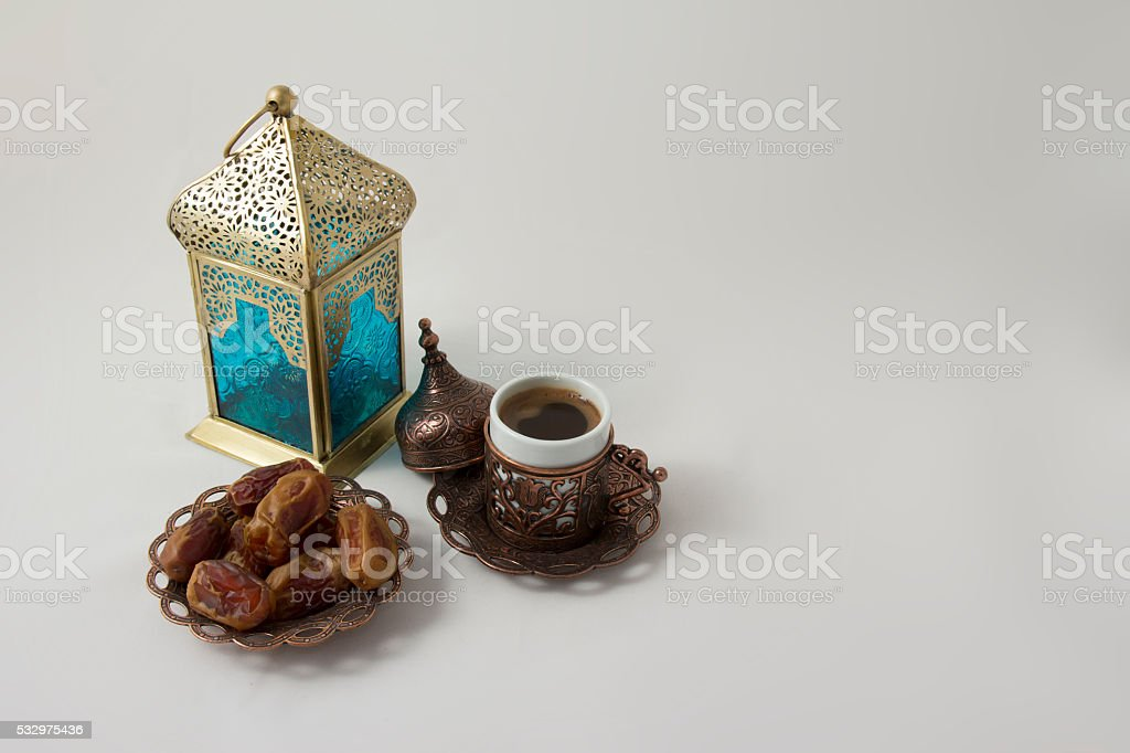 Upper view of Lantern with Coffee and Dates fruit stock photo