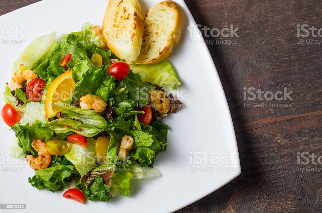 Upper view of Shrimp Salad royalty-free stock photo