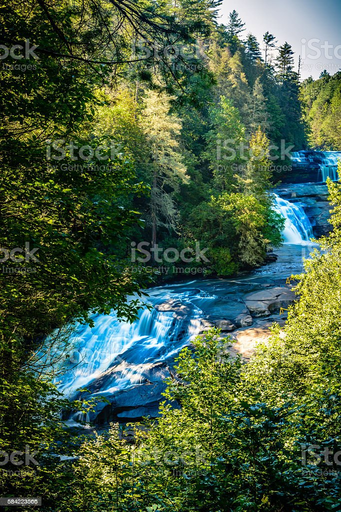 Upper view of Triple Falls in Western North Carolia stock photo