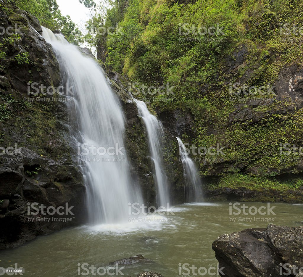 Upper Waikani Falls, Maui, Hawaii stock photo