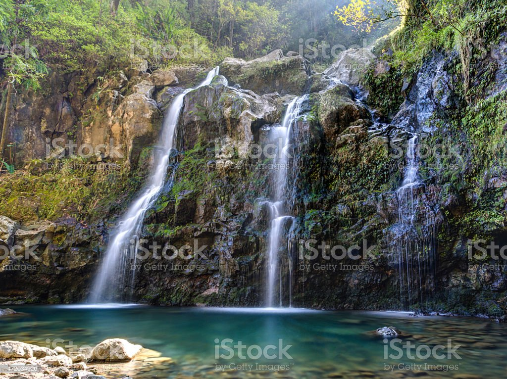 Upper Waikuni Falls on the Road to Hana stock photo