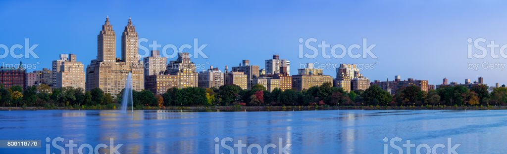 Upper West Side and Central Park. Jacqueline Kennedy Onassis Reservoir at dawn. New York City stock photo