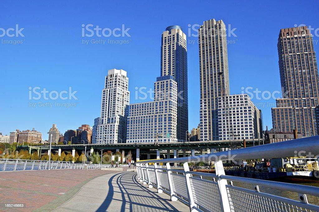 Upper West Side cityscape along Hudson River pier, Manhattan, NYC stock photo