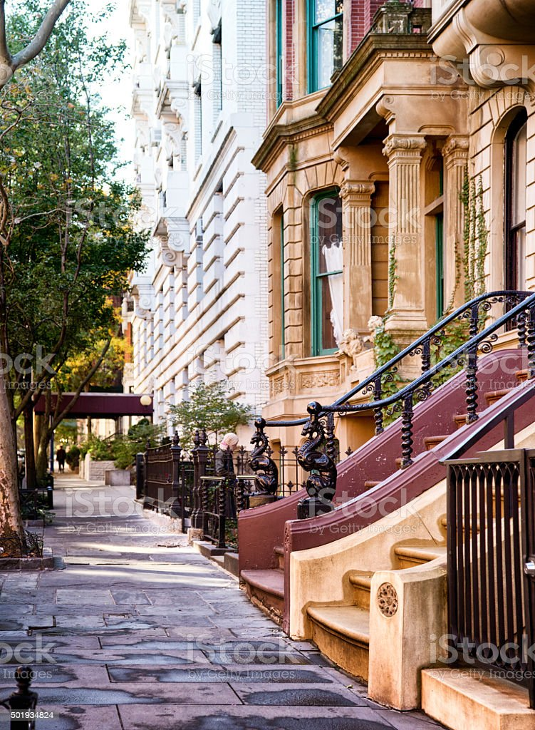 Upper west side sidewalk with luxury residential buildings stock photo