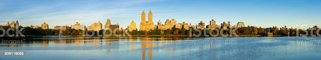 Upper West Side skyline and Central Park Reservoir, New York City (panoramic) stock photo