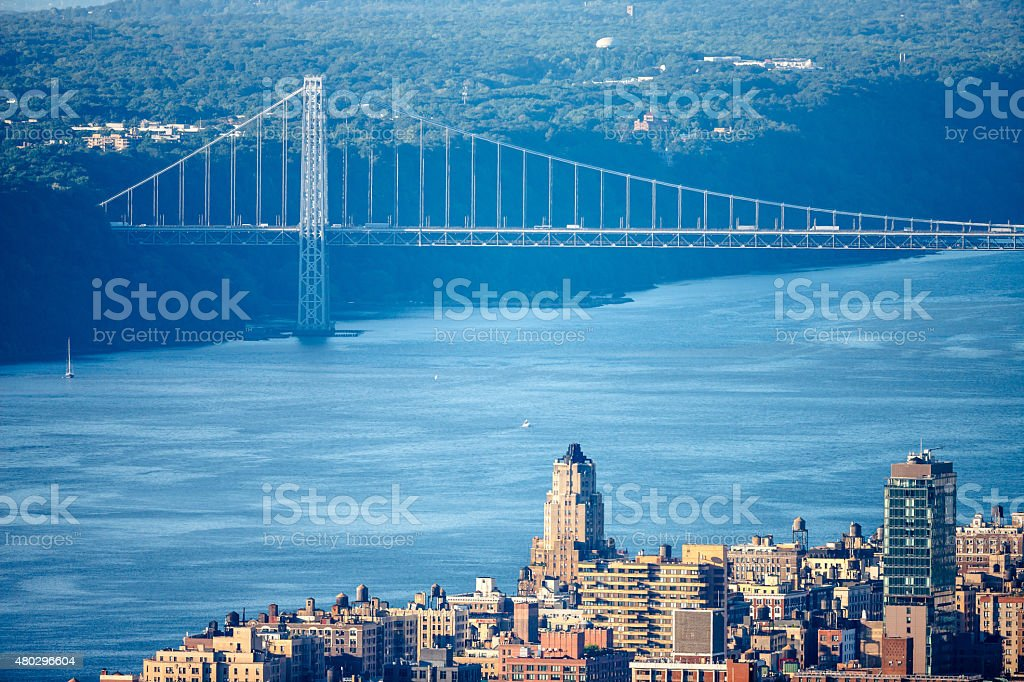 Upper West Side with George Washington Bridge and Hudson River stock photo