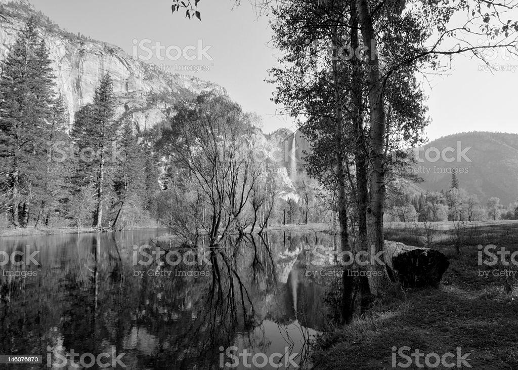 Upper Yosemite Fall (B&W) royalty-free stock photo
