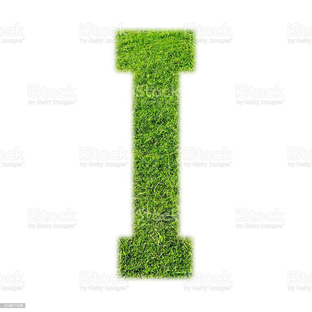 'I' uppercase alphabet made of grass texture, isolated on white stock photo