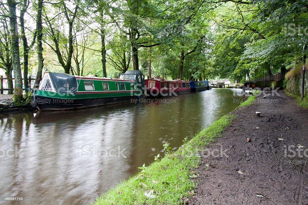 Uppermill basin on the Huddersfield Narrow Canal stock photo