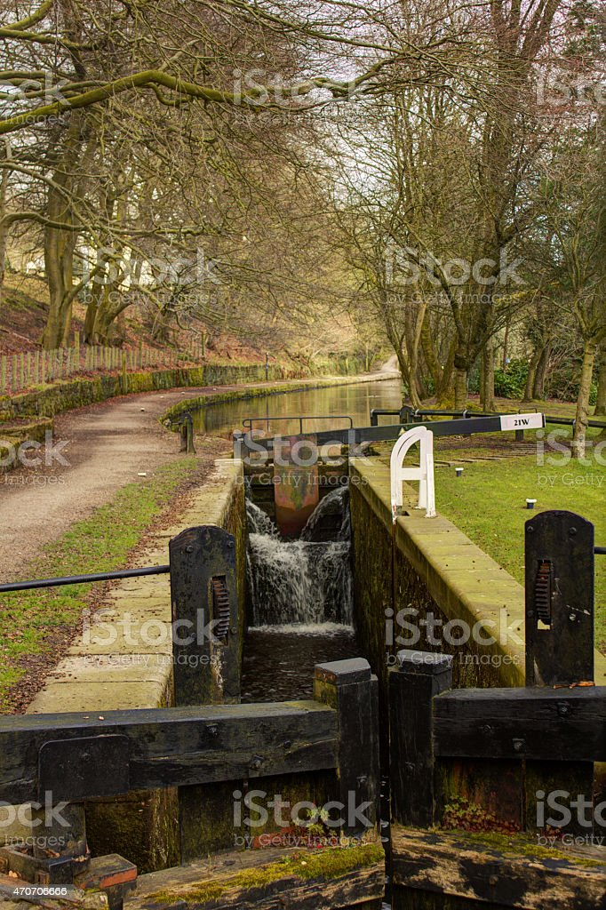 Uppermill Canal Lock stock photo