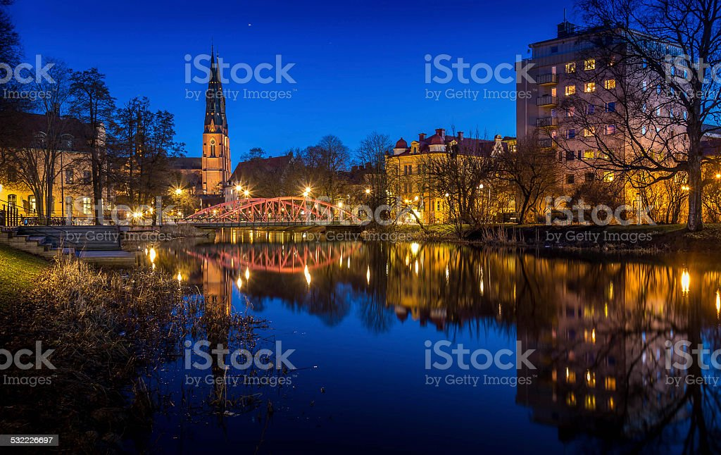 Uppsala by night stock photo