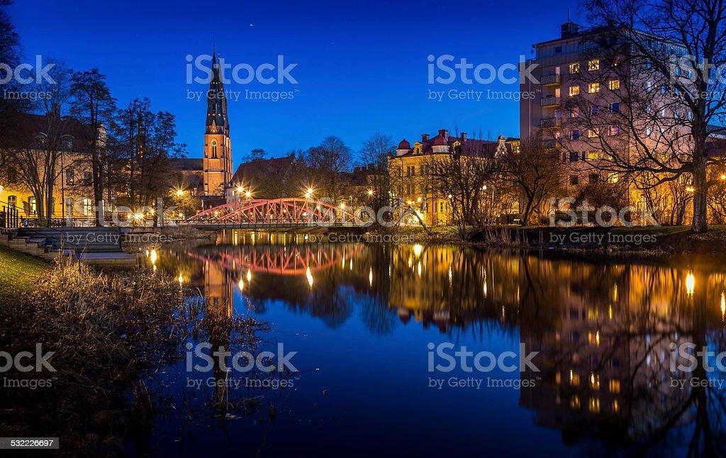 Uppsala by night stock photo