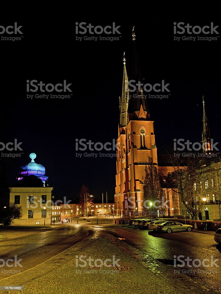 Uppsala Cathedral and Gustavianum by night stock photo