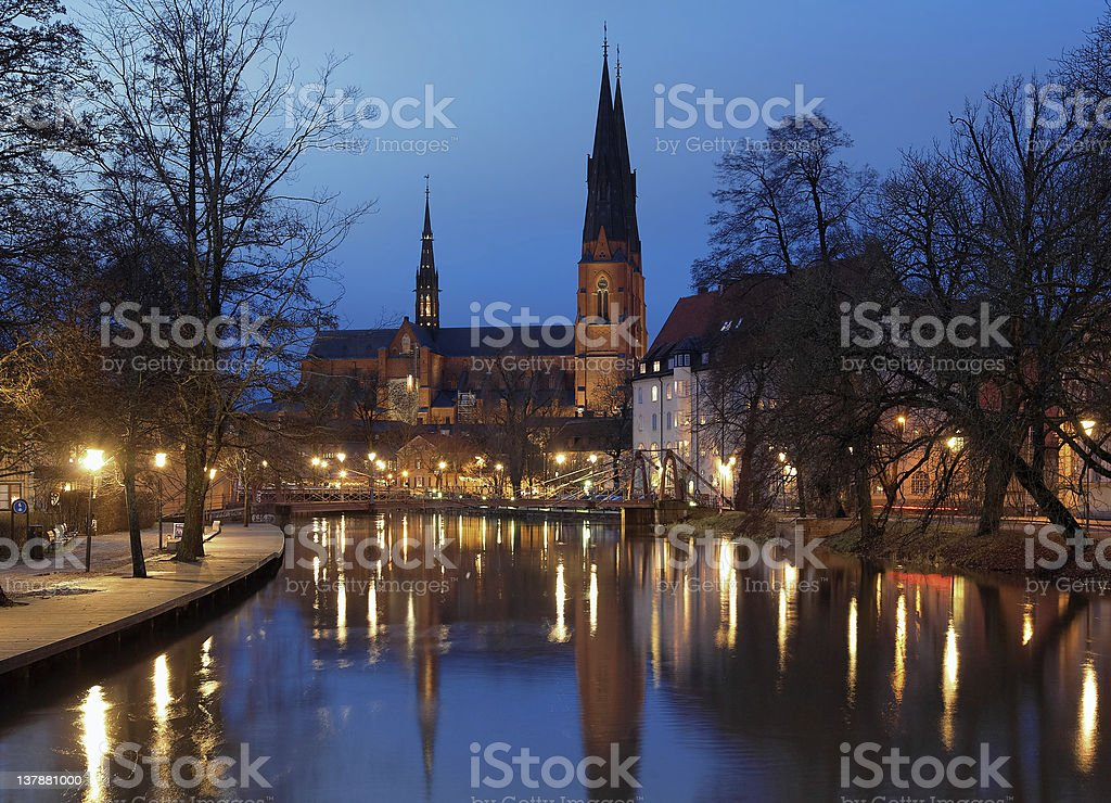 Uppsala Cathedral at evening, Sweden stock photo